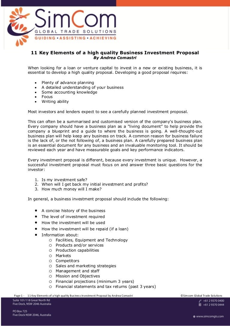 venture capital investment proposal template - 11 key elements of a high quality business investment proposal