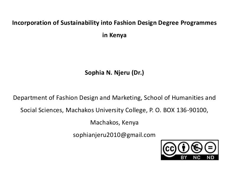 Incorporation Of Sustainability Into Fashion Design Degree Programmes