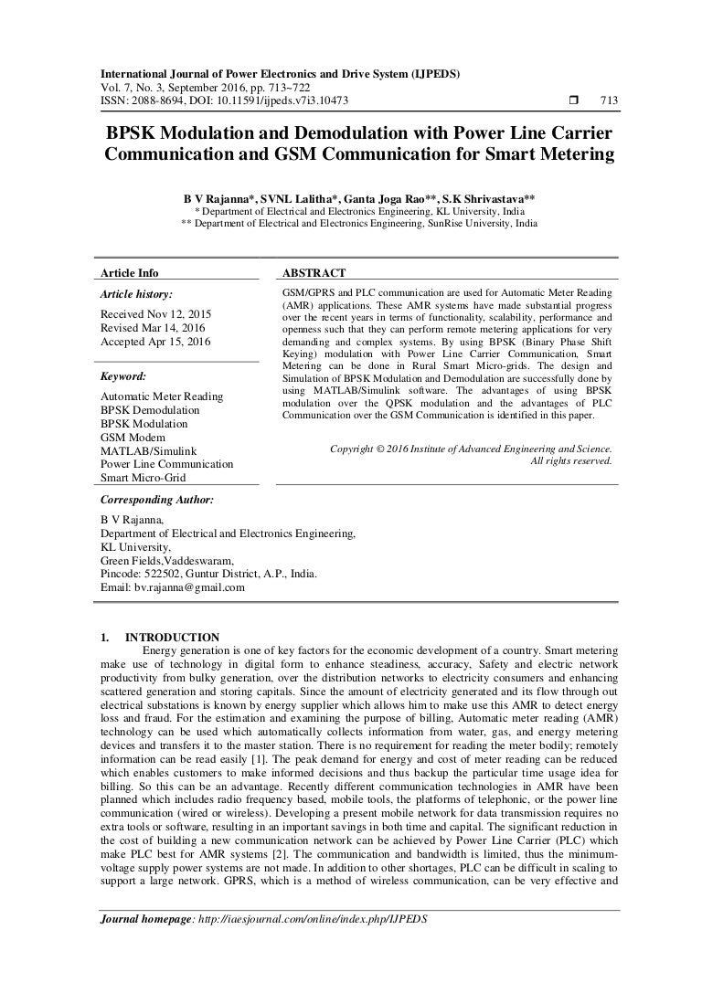 Bpsk Modulation And Demodulation With Power Line Carrier Communicatio Broadband Powerline Modem
