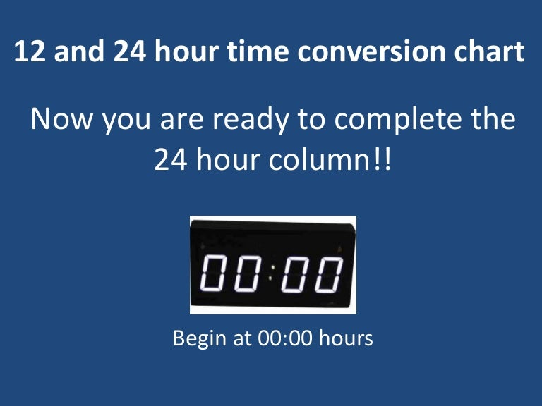 Hour Time Conversion Chart