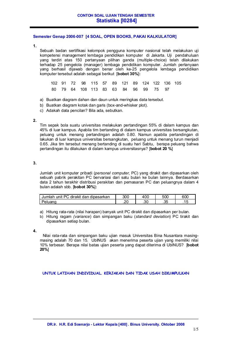 12 contoh soal uts statistika ccuart Image collections