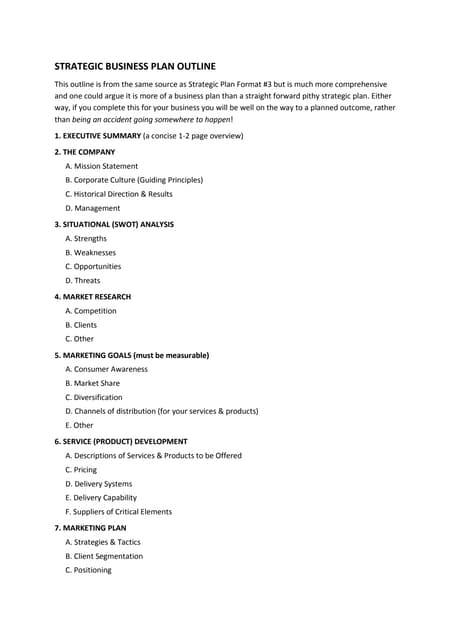 12. Strategic Business Plan Outline