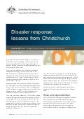 ACMC Working Paper 01/2012 Disaster response: lessons from Christchurch