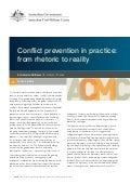 Working Paper 02/2012 Conflict prevention in practice: from rhetoric to reality