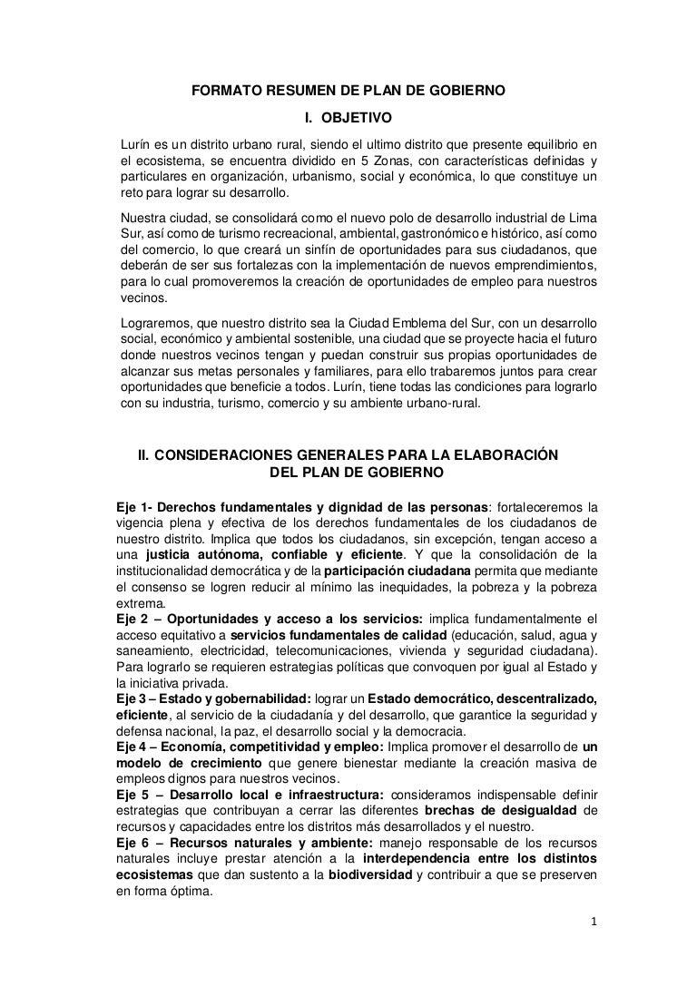 PLAN DE GOBIERNO FUERZA POPULAR-LURÍN