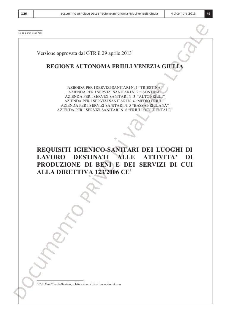 Vespaio Areato Altezza Minima 126 regione friuli venezia giulia requisiti igienico