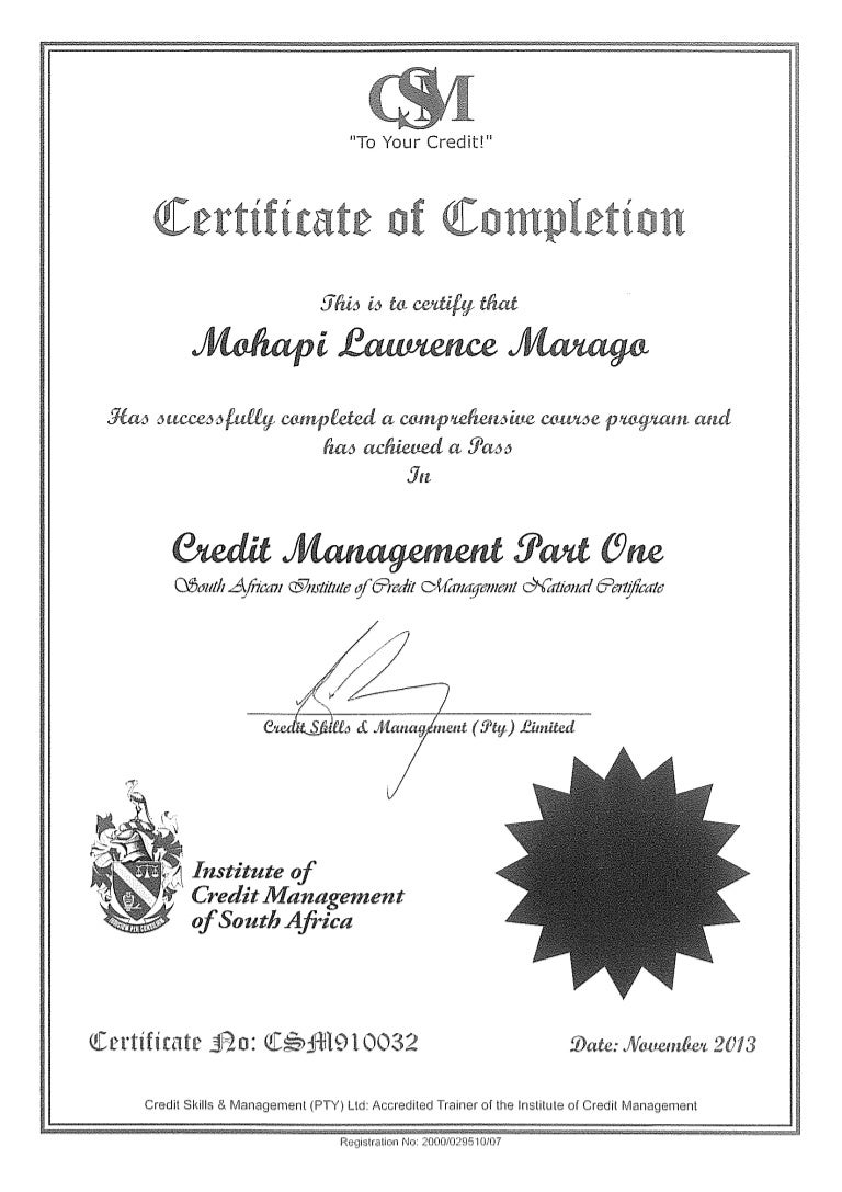 Credit skills certificate part 1 1betcityfo Images