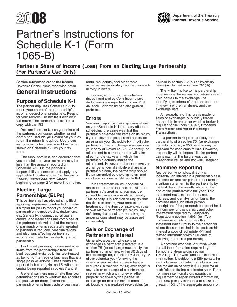 Inst 1065 B Schedule K 1 Instructions For Schedule K 1 Form 1065 B