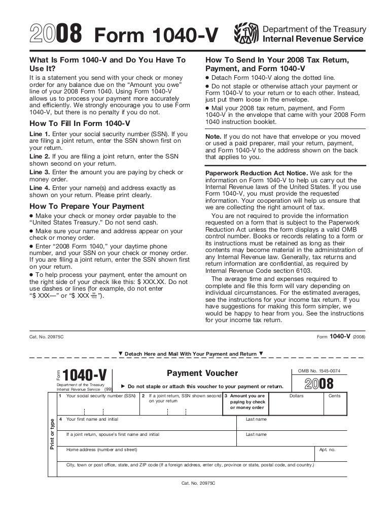Form 1040V-Payment Voucher