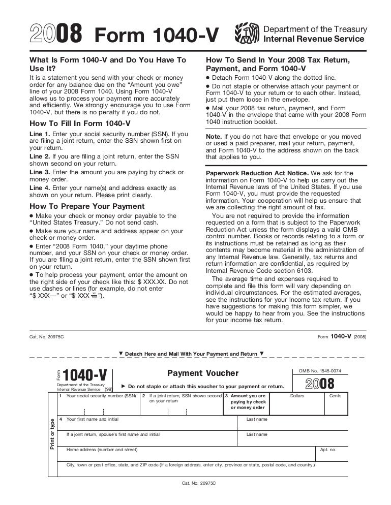 Form 1040v Payment Voucher