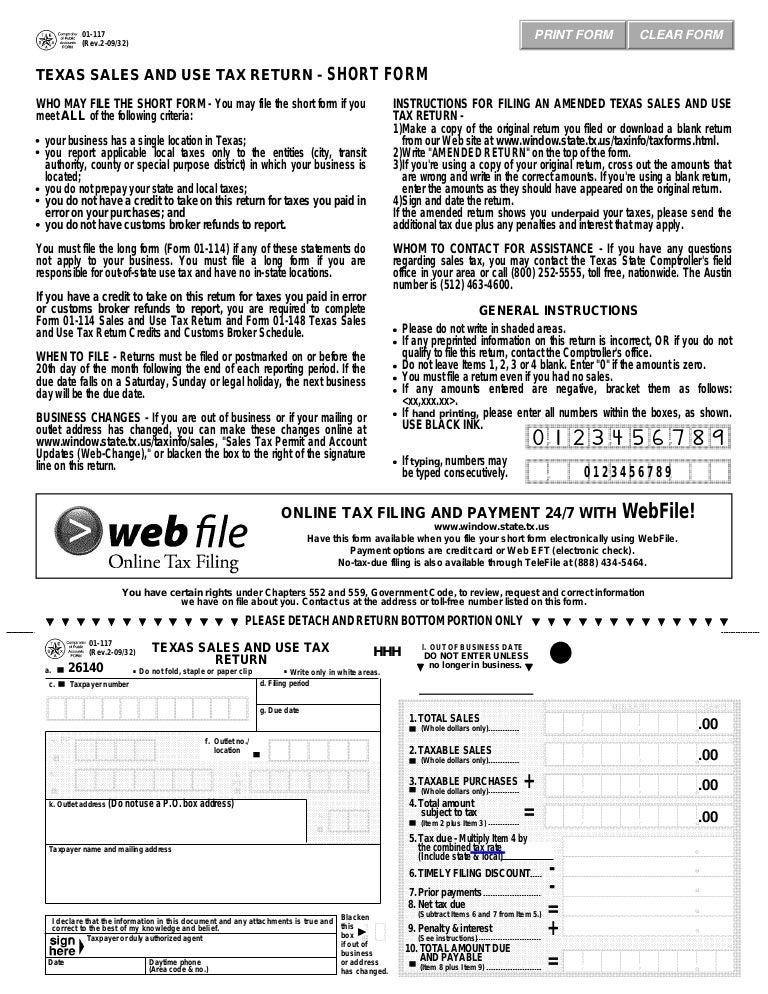 Texas Fireworks Tax Forms 01 117 Texas Sales Use Tax Return Short