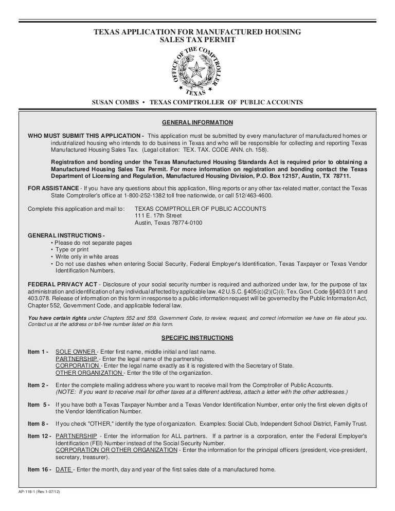 Texas For Application Tax Miscellaneous Forms-ap-118 Manufactur…