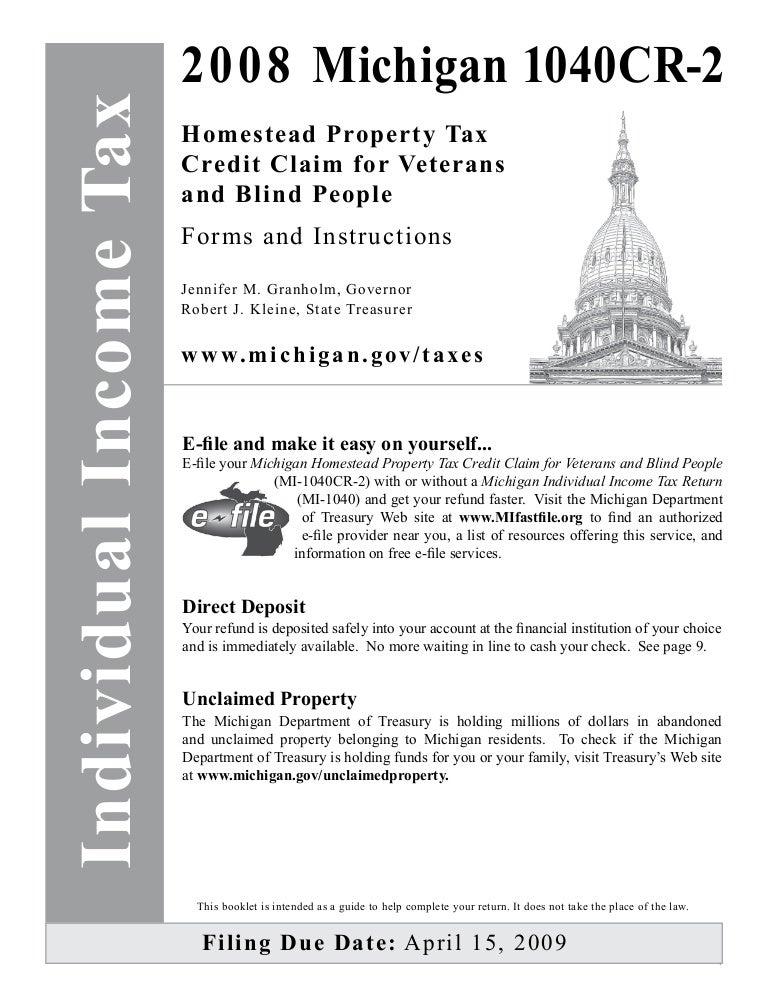 Homestead Property Tax Credit Claim For Veterans And Blind People Ins