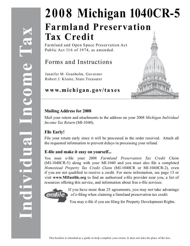 Mi 1040cr 5bookletmichigan Documents Taxes