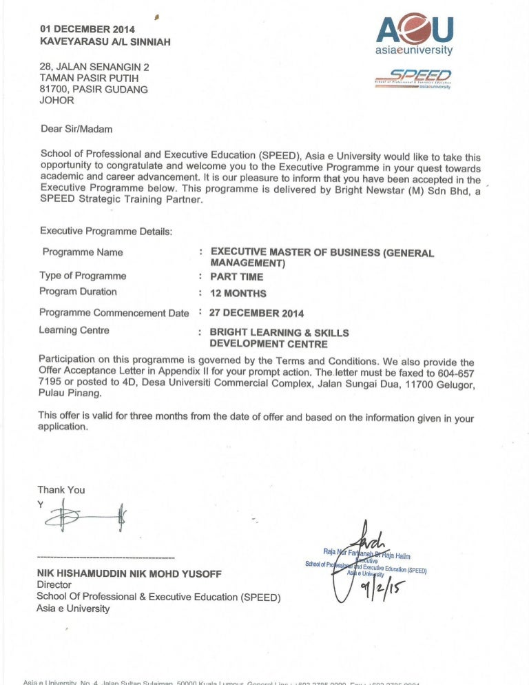 Aeu University Offer Letter.