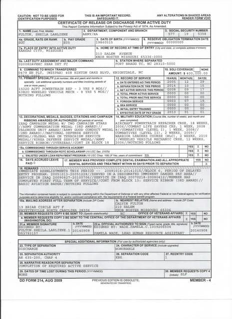 DD 214 Worksheet