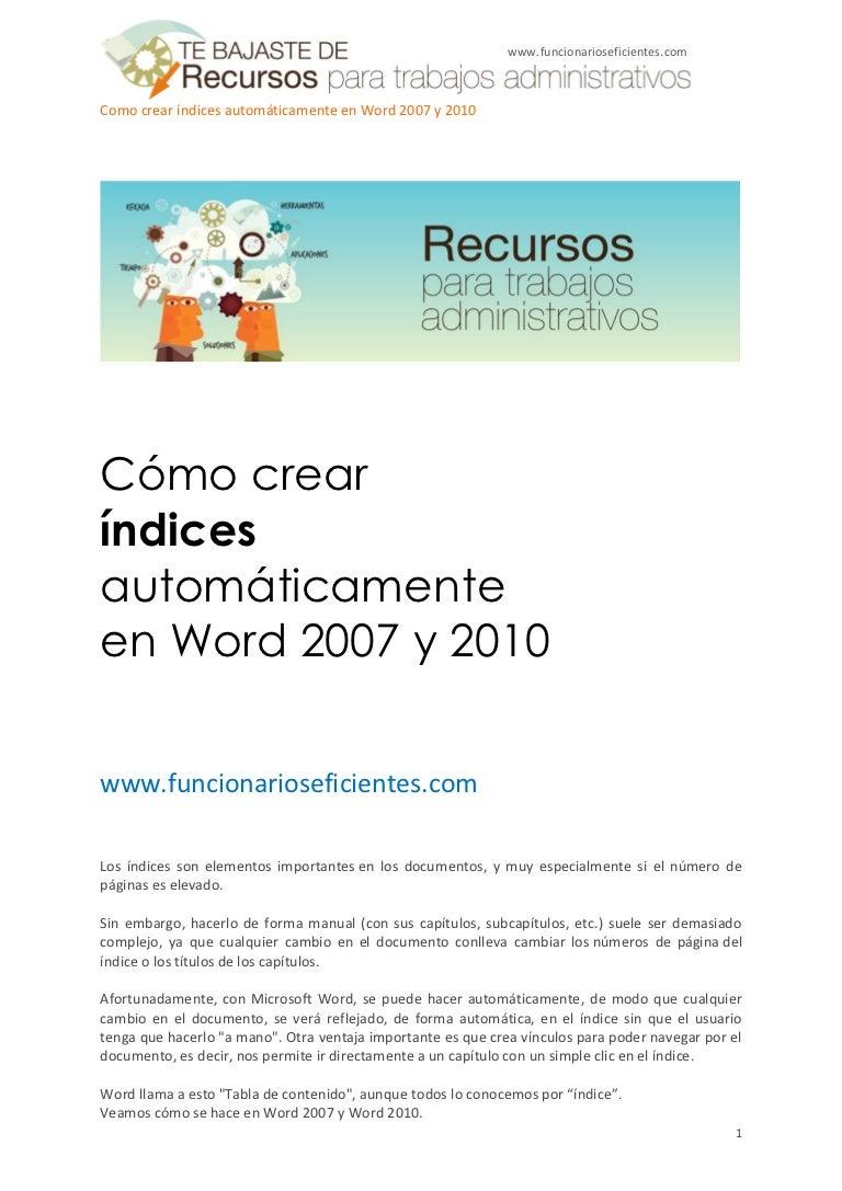 Cómo crear índices automáticamente en Word 2007 y 2010