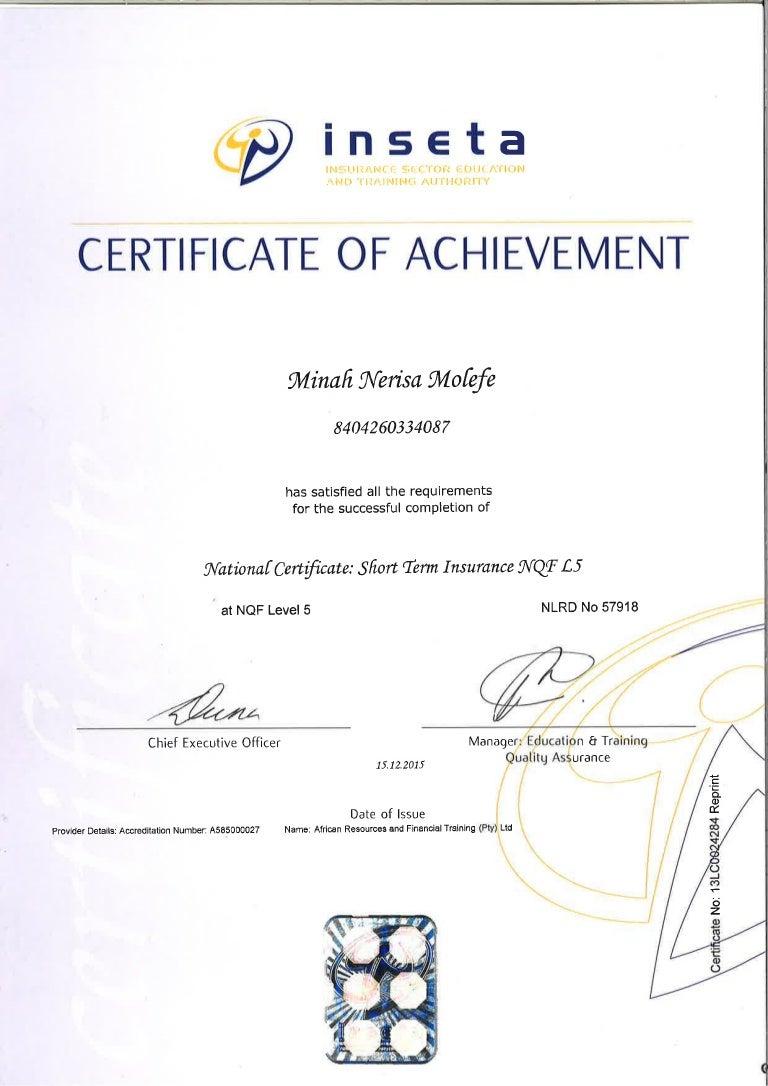 Inseta Short Term Level 5 National Certificate