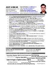 Short Resume of Asif Anwar
