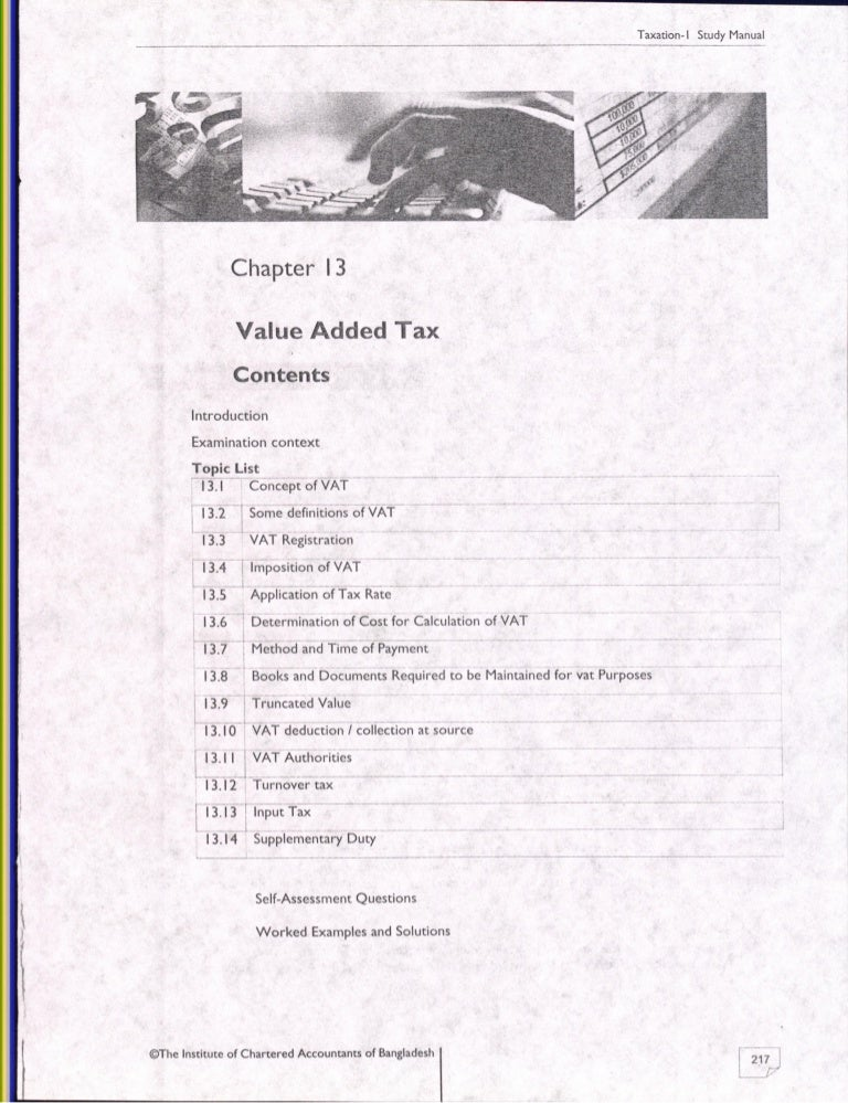 13. value added tax, ICAB, KL, Study Manual