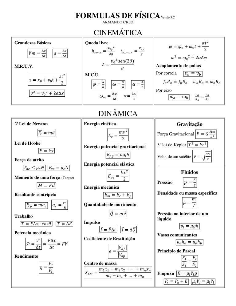 Primeira lei da termodinamica formulas