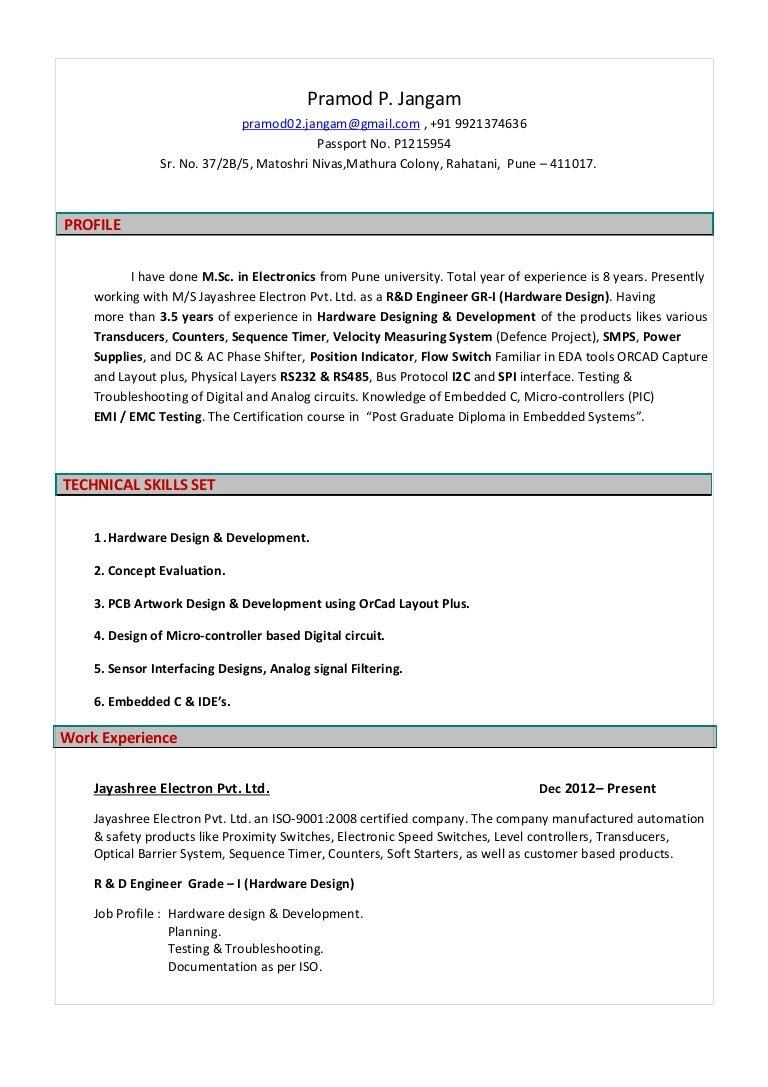 Pramod J Resume Msc Electronics 35 Year Exprience In Hardware De Analog Circuits Versus Digital Thumbnail