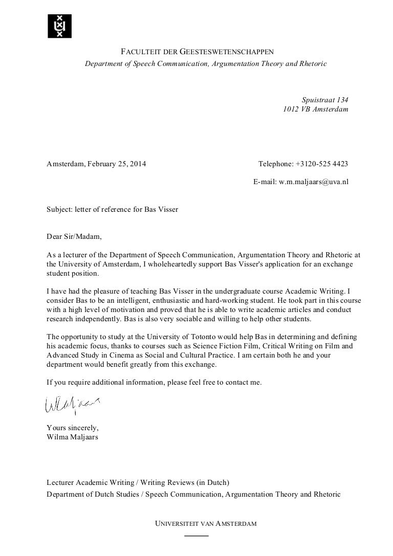 aanbevelingsbrief student voorbeeld Aanbevelingsbrief Student Voorbeeld | hetmakershuis