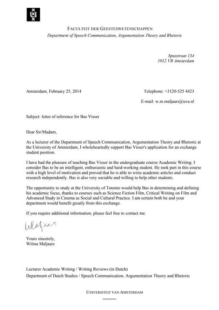 Aanbevelingsbrief Bas