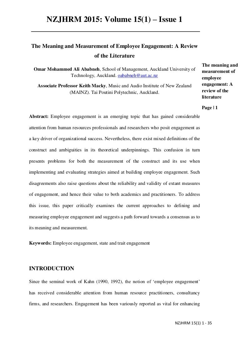 literature review on defining employee engagement Employee engagement and interpreting survey results  2 defining engagement  a review of the literature from the practitioner domain.
