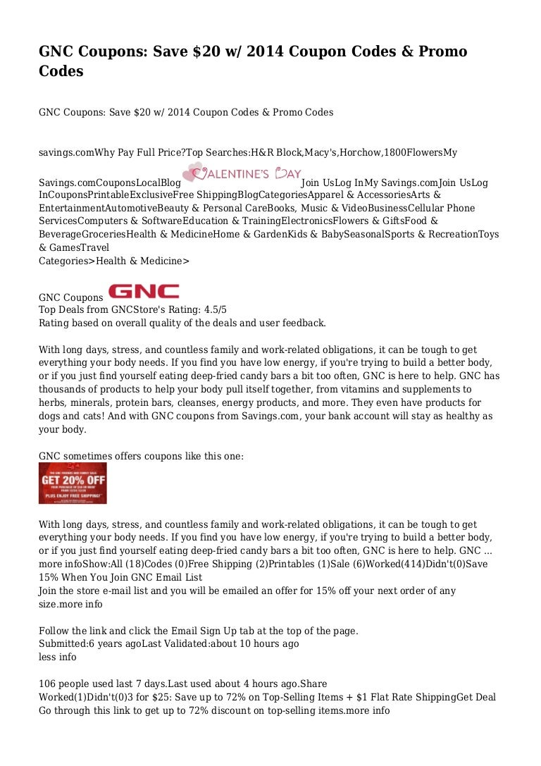 photo relating to Gnc Printable Coupons 10 Off 50 known as GNC Discount coupons: Help you save $20 w/ 2014 Coupon Codes Promo Codes