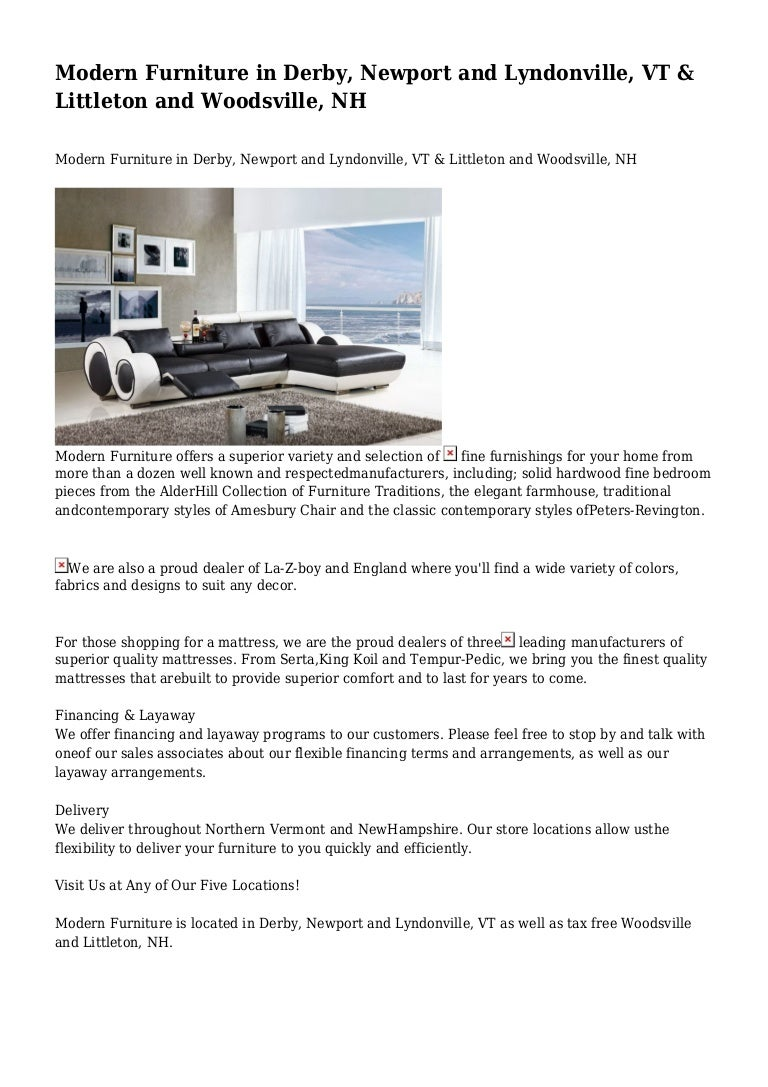 Modern furniture in derby newport and lyndonville vt littleton an