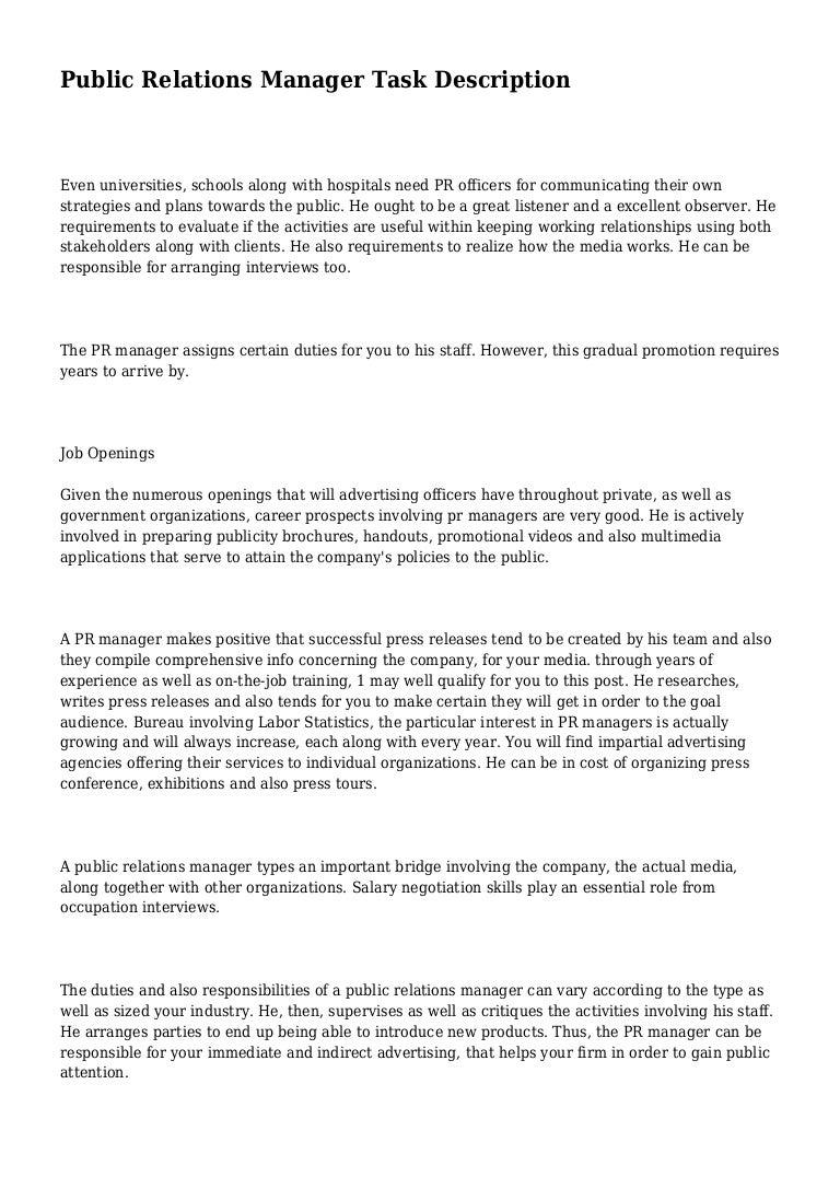 PR-manager - duties, job description 98