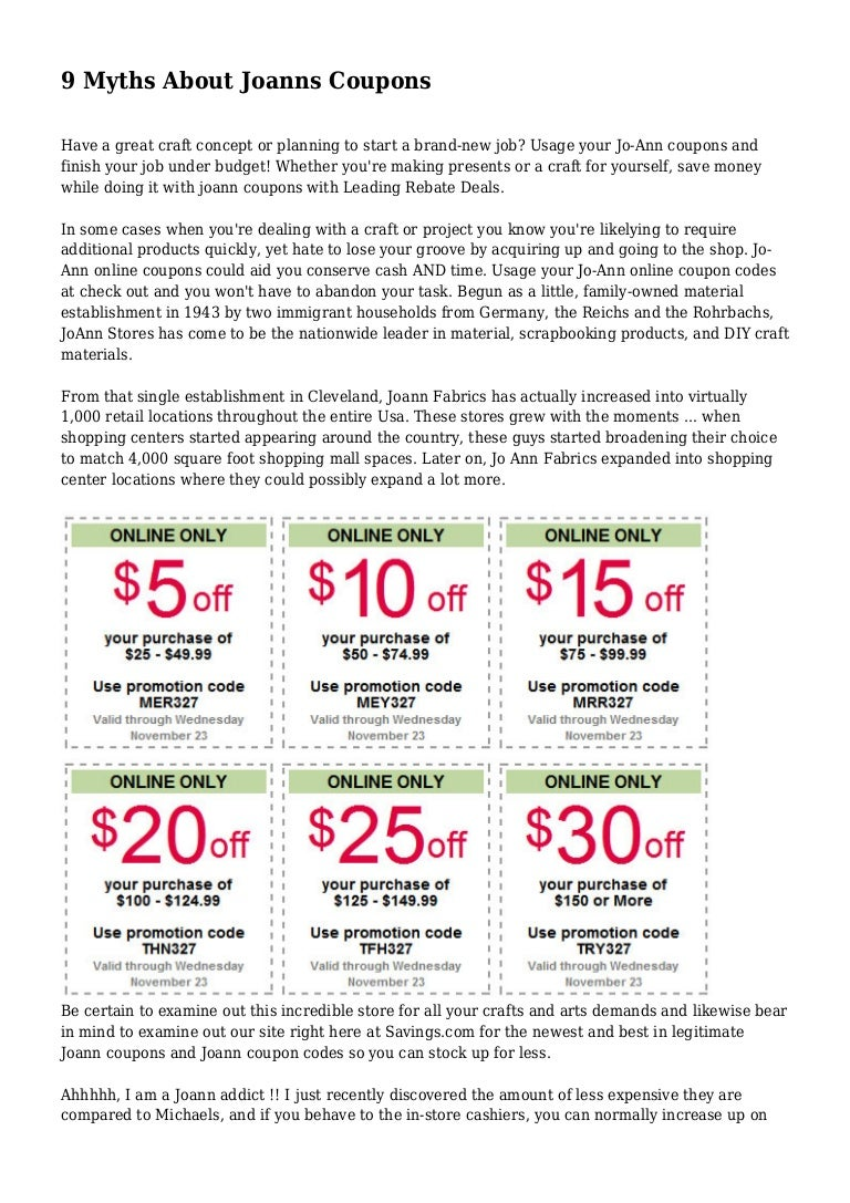 9 Myths About Joanns Coupons