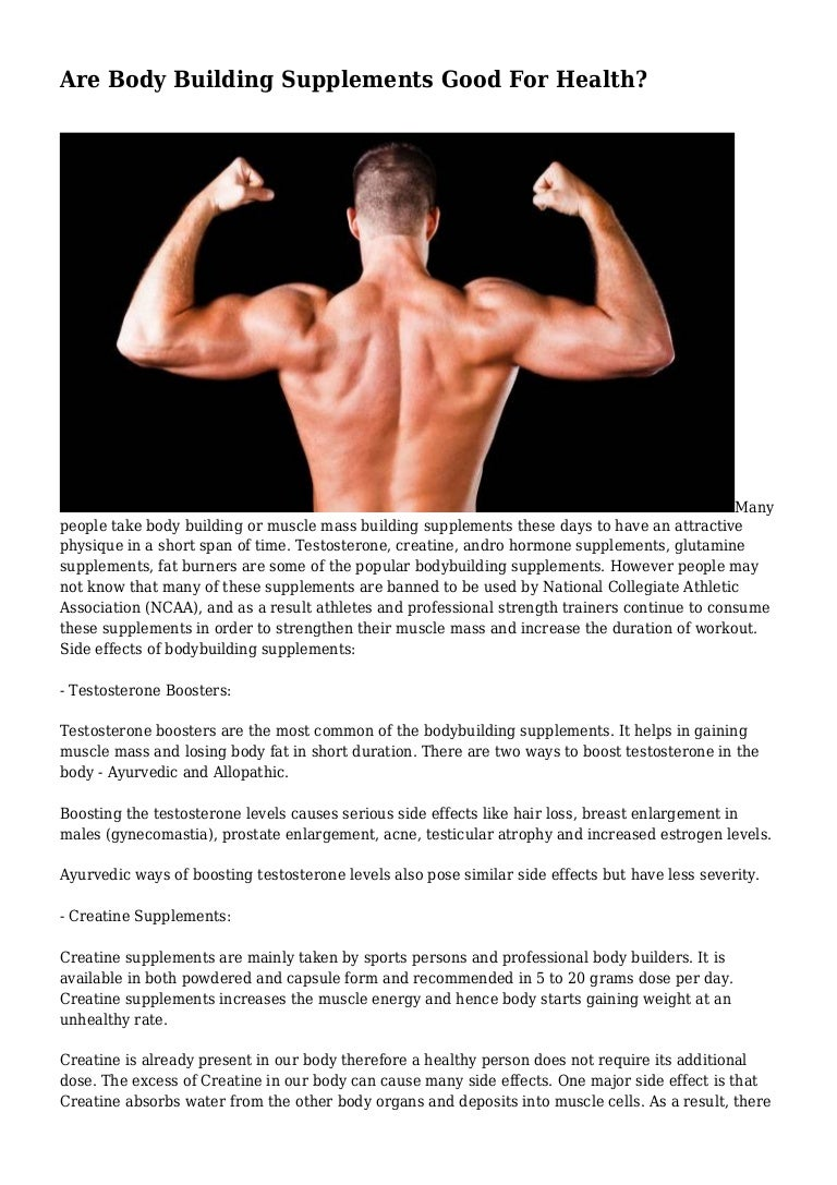 Are Body Building Supplements Good For Health