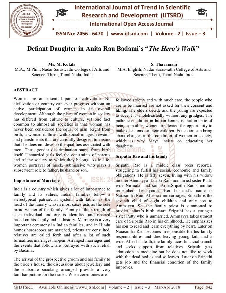 Defiant Daughter in Anita Rau Badami's 'œThe Hero's Walk'
