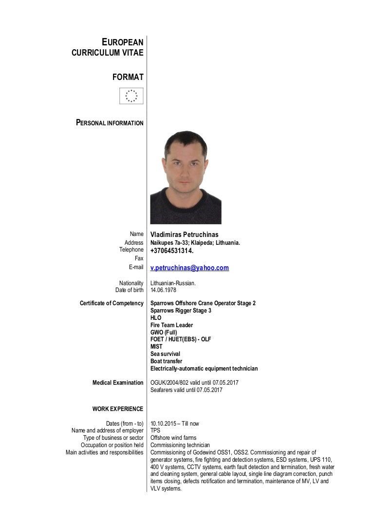 V.Petruchinas CV euroformat