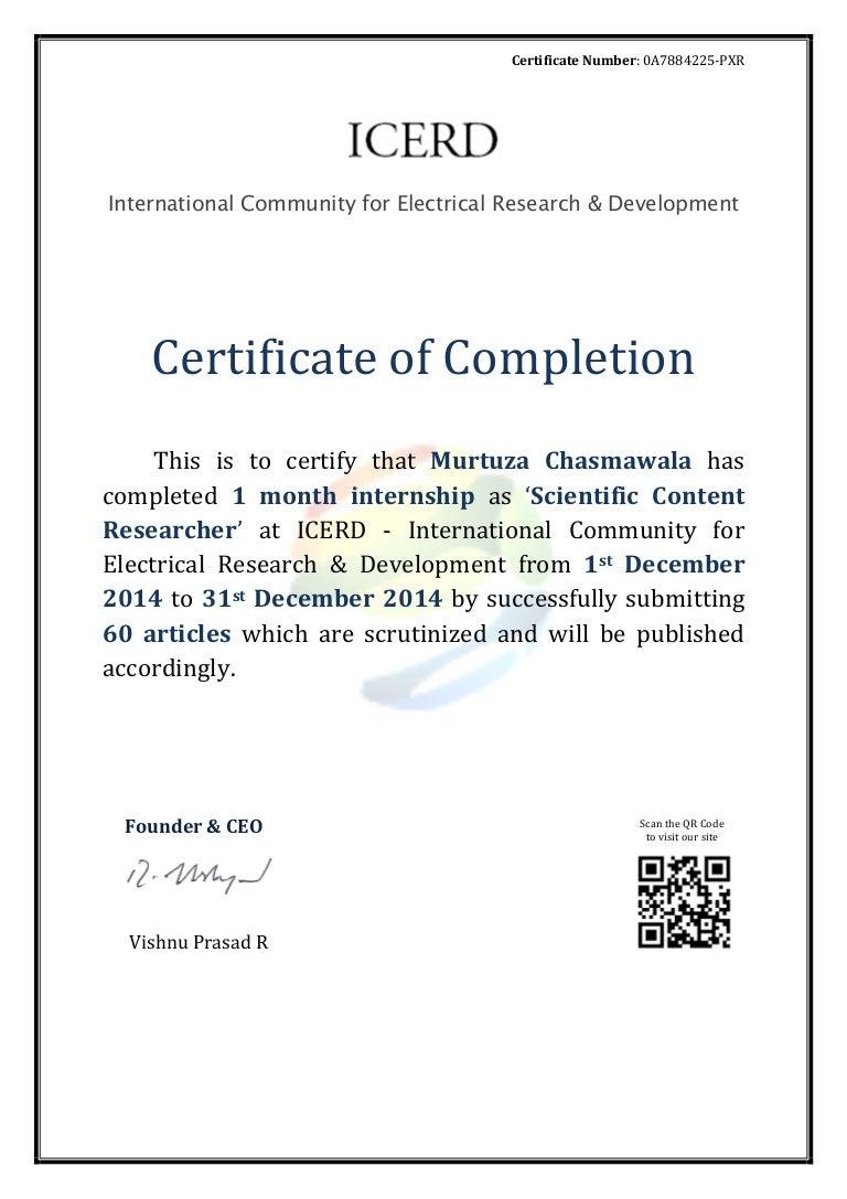 Internship Completion Certificate Murtuza Chasmawala