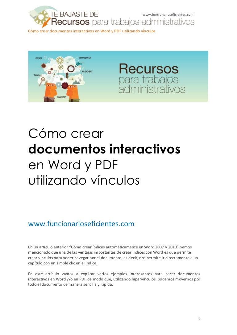 Como Crear Documentos Interactivos En Word Y Pdf Utilizando Vínculos