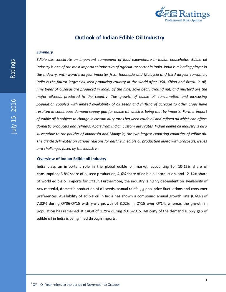 Outlook of Indian Edible Oil Industry