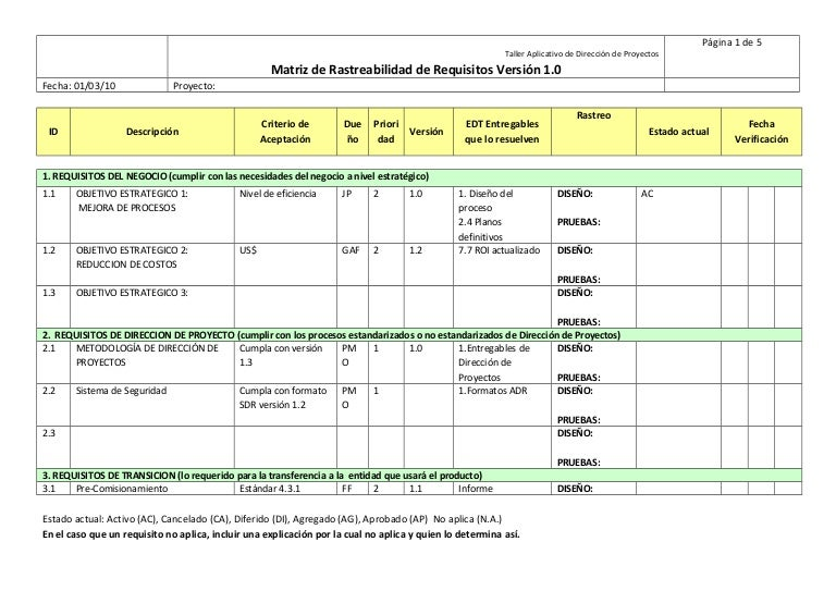13 matriz de rastreabilidad de requisitos PMI