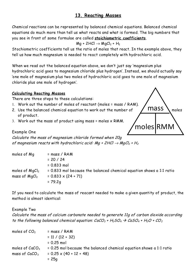 13 Reacting Masses – Calculating Work Worksheet