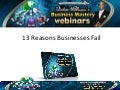 Victor Holman - 13 Reasons Businesses Fail. Why Businesses Succeed and Fail (Video)