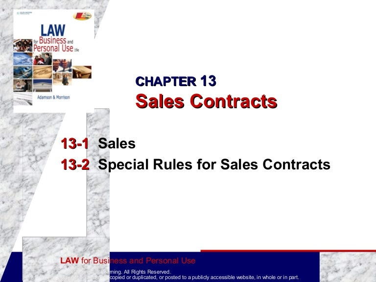 Business Law: Sales Contracts