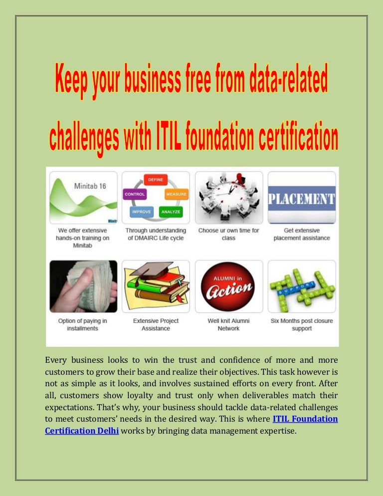 Keep Your Business Free From Data Related Challenges With Itil Founda