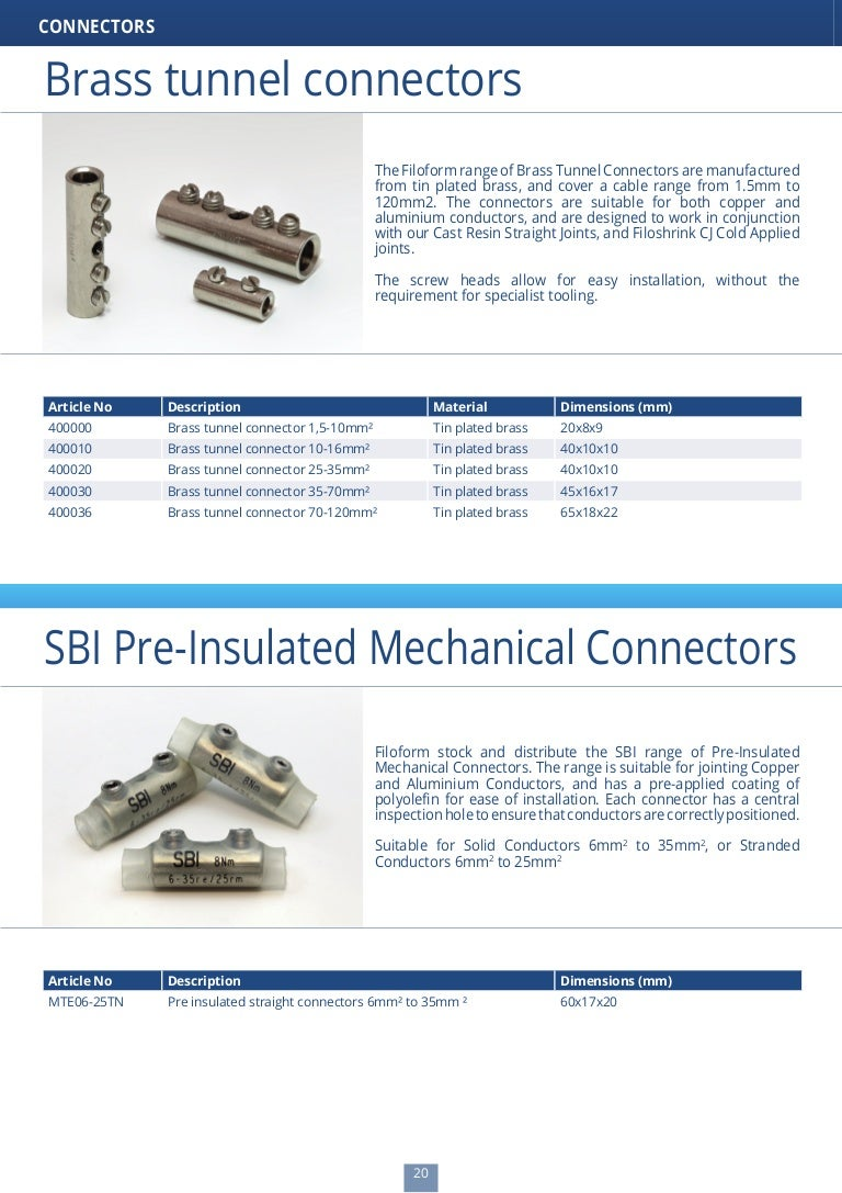 Brass tunnel connectors
