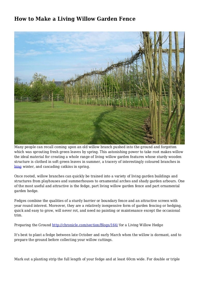 How To Make A Living Willow Garden Fence