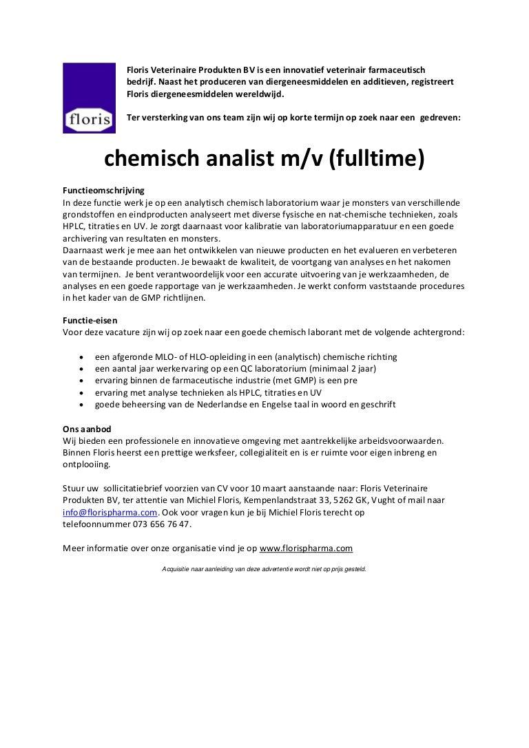 140203 vacature chemisch analist