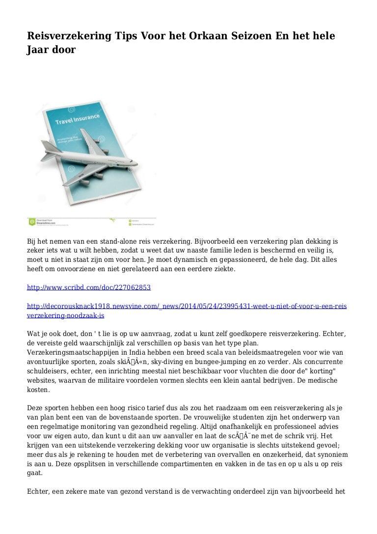 Reisverzekering Tips Voor Het Orkaan Seizoen En Het Hele Jaar Door