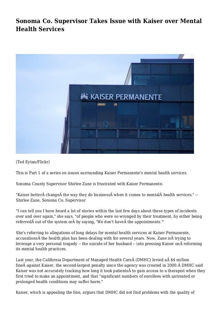 Sonoma Co Supervisor Takes Issue With Kaiser Over Mental Health Serv