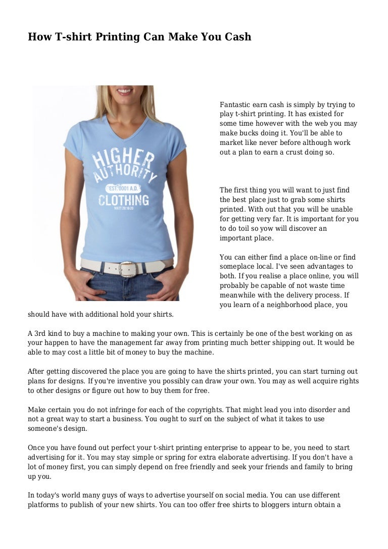 How T Shirt Printing Can Make You Cash